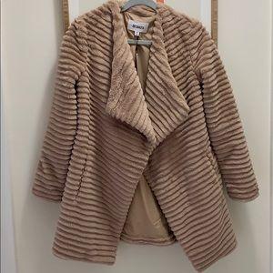 Stroke Of Luxe Light Tan Faux Fur Coat